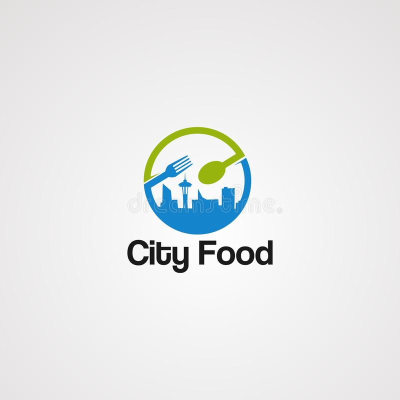 Vetor, ícone, elemento, e molde sociais do logotipo do alimento da cidade para o negócio ilustração stock