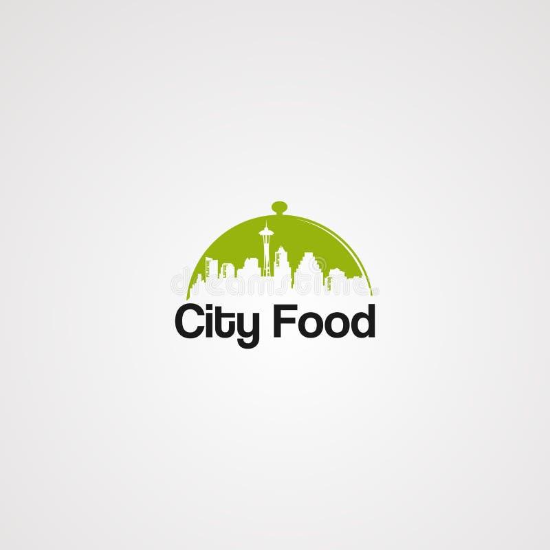 Vetor, ícone, elemento, e molde verdes do logotipo do alimento da cidade para a empresa ilustração royalty free