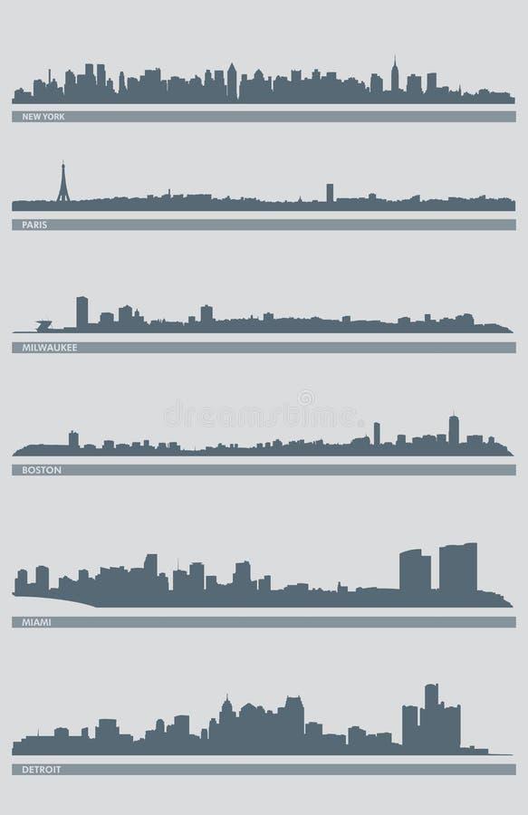 Vetor 3 da skyline da arquitectura da cidade ilustração stock