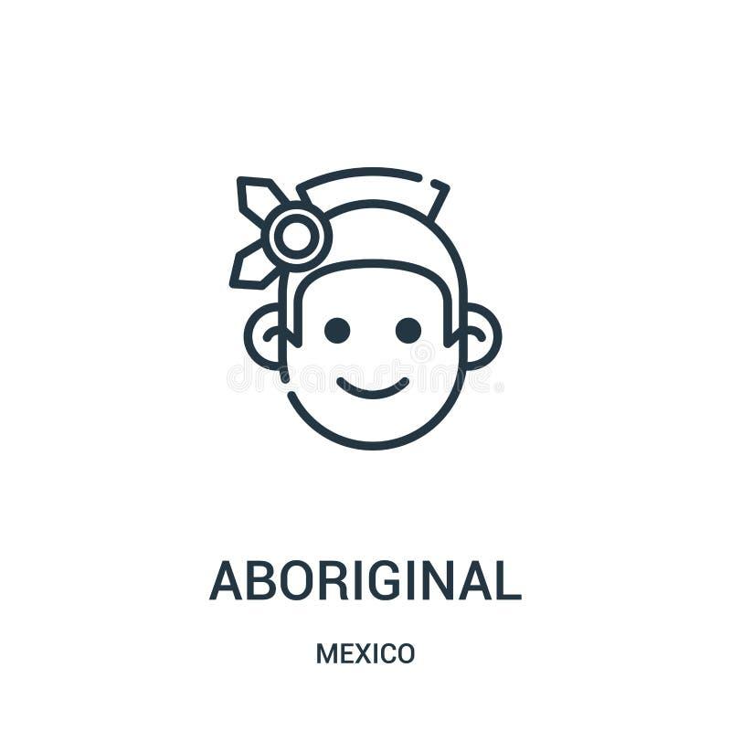 vetor aborígene do ícone da coleção de México Linha fina ilustra??o abor?gene do vetor do ?cone do esbo?o ilustração stock