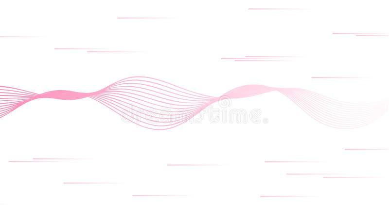 Vetor abstrato com as linhas cor-de-rosa da onda sadia isoladas no fundo branco Projeto feminino para o movimento direito das mul ilustração royalty free