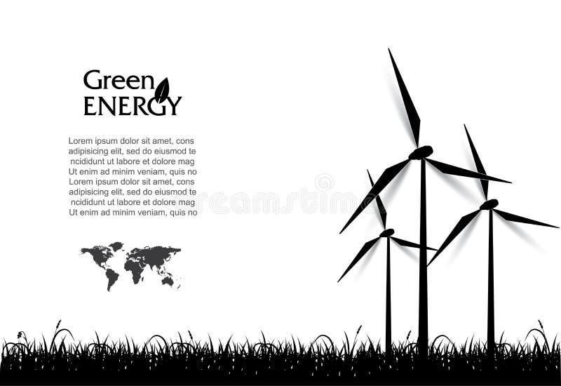 Vetor abstrato com turbinas eólicas, conceito verde da energia ilustração do vetor