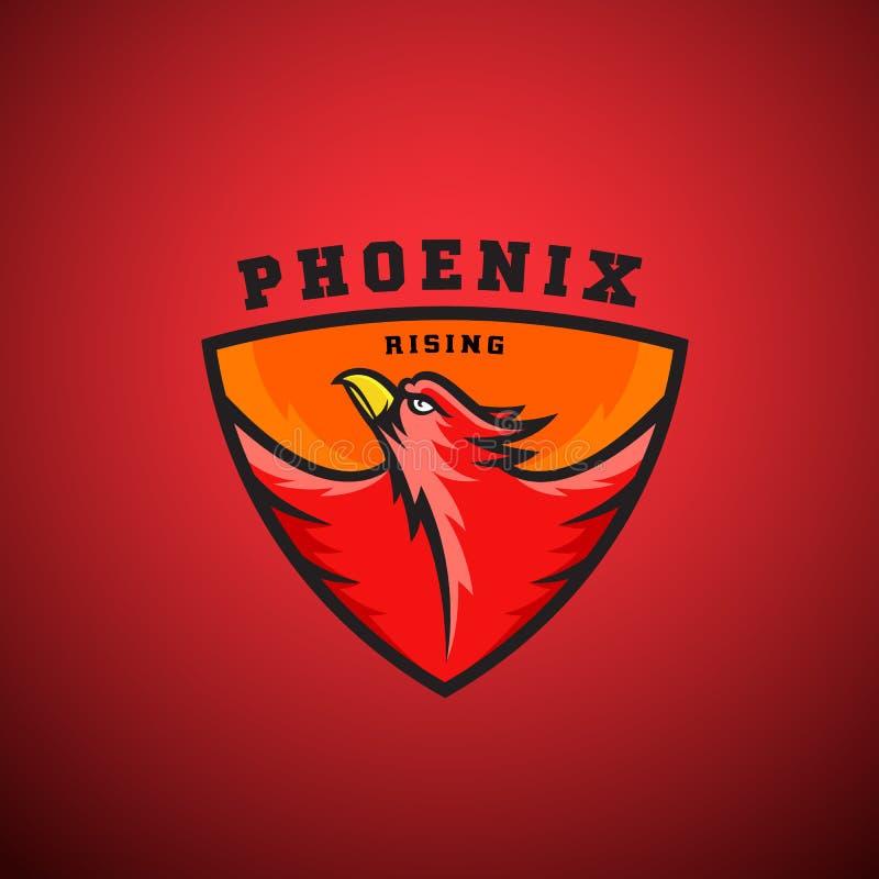 Vetor abstrato de aumentação Logo Template de Phoenix Ilustração do pássaro do fogo do voo em um protetor ilustração do vetor