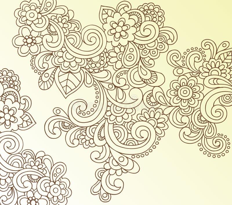 Vetor abstrato do Doodle da flor de Paisley do Henna ilustração royalty free