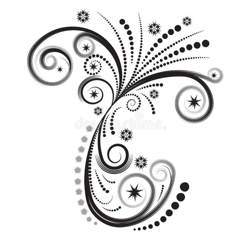 Vetor abstrato do inverno floral ilustração royalty free