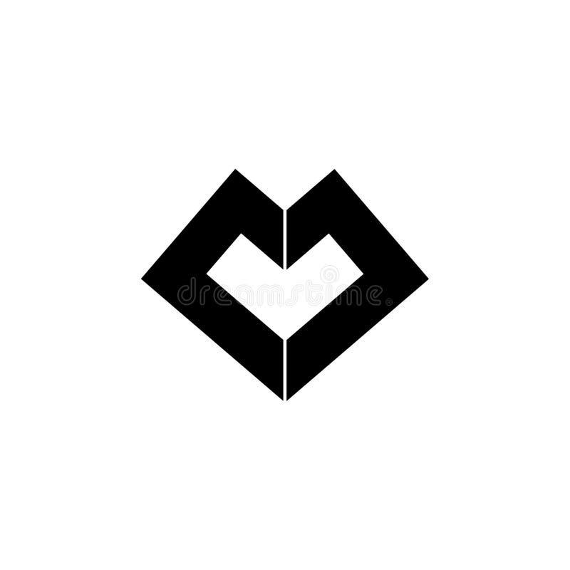 Vetor abstrato do logotipo da forma do diamante das letras m ilustração royalty free
