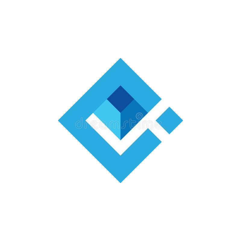 Vetor abstrato do logotipo do quadrado 3d do ci da letra ilustração royalty free