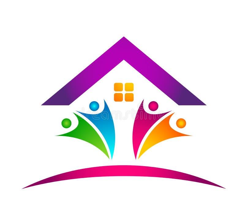 Vetor abstrato do projeto do ícone do telhado da casa dos bens imobiliários e do elemento do vetor do logotipo da casa no fundo b ilustração do vetor