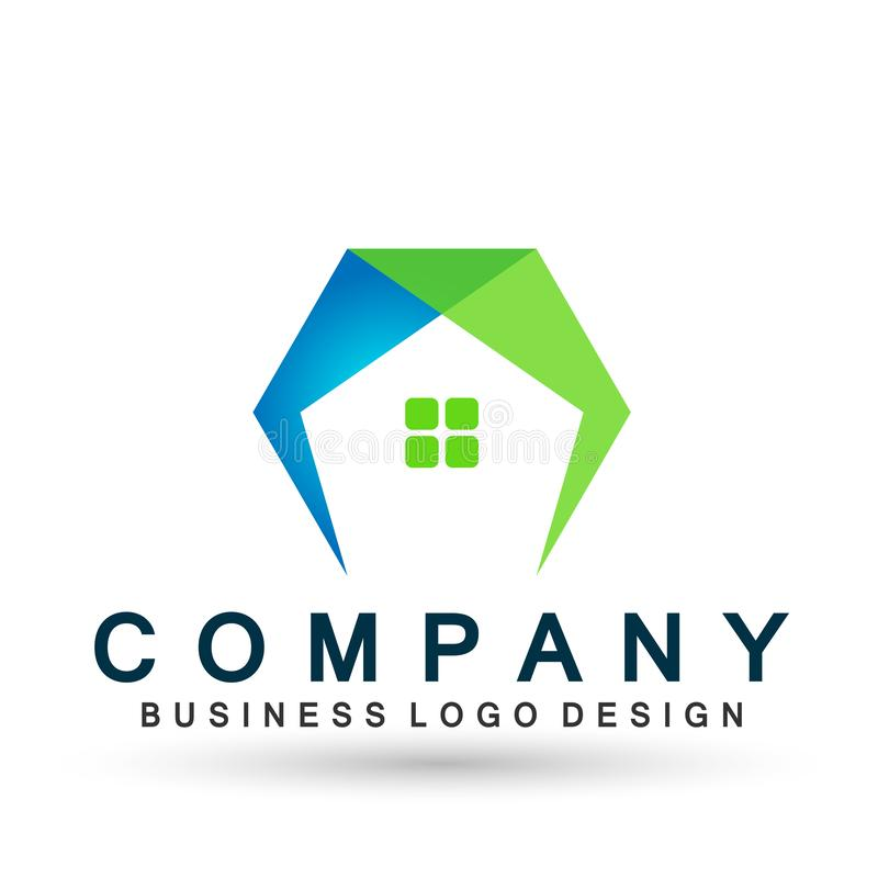 Vetor abstrato do projeto do ícone do telhado da casa do hexágono dos bens imobiliários e do elemento do vetor do logotipo da cas ilustração do vetor