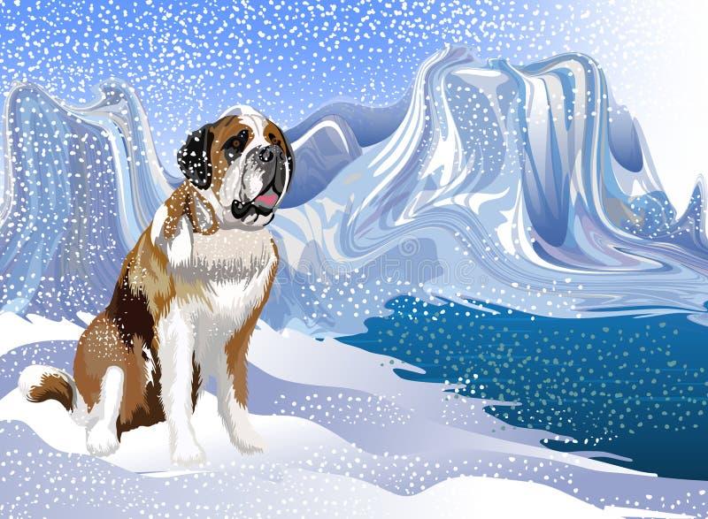 Vetor abstrato um cão que aprecia a queda de neve atrás do rio Ilustração do vetor
