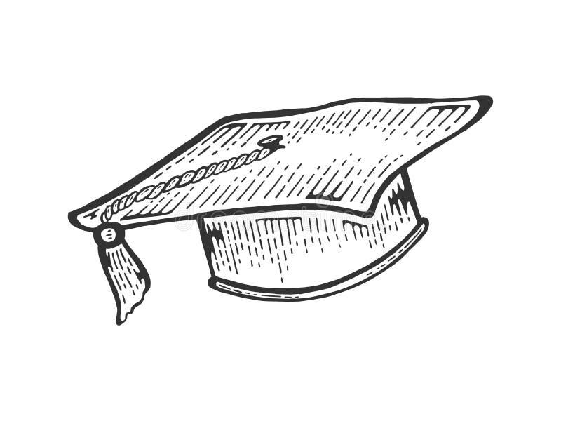 Vetor acadêmico da gravura do esboço do tampão do quadrado ilustração stock