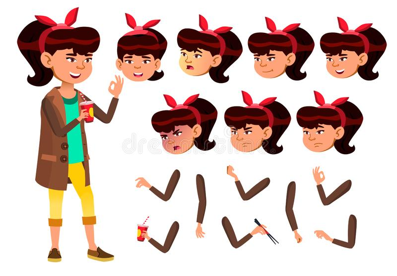 Vetor adolescente asiático da menina teenager Consideravelmente, juventude Emoções da cara, vários gestos Grupo da criação da ani ilustração stock