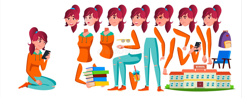 Vetor adolescente da menina Grupo da criação da animação Emoções da cara, gestos Caucasian, positivo animated Para a bandeira, in ilustração stock