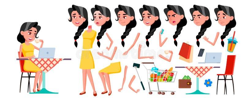 Vetor adolescente da menina Grupo da criação da animação Emoções da cara, gestos Cara Crianças animated Para anunciar, brochura ilustração royalty free