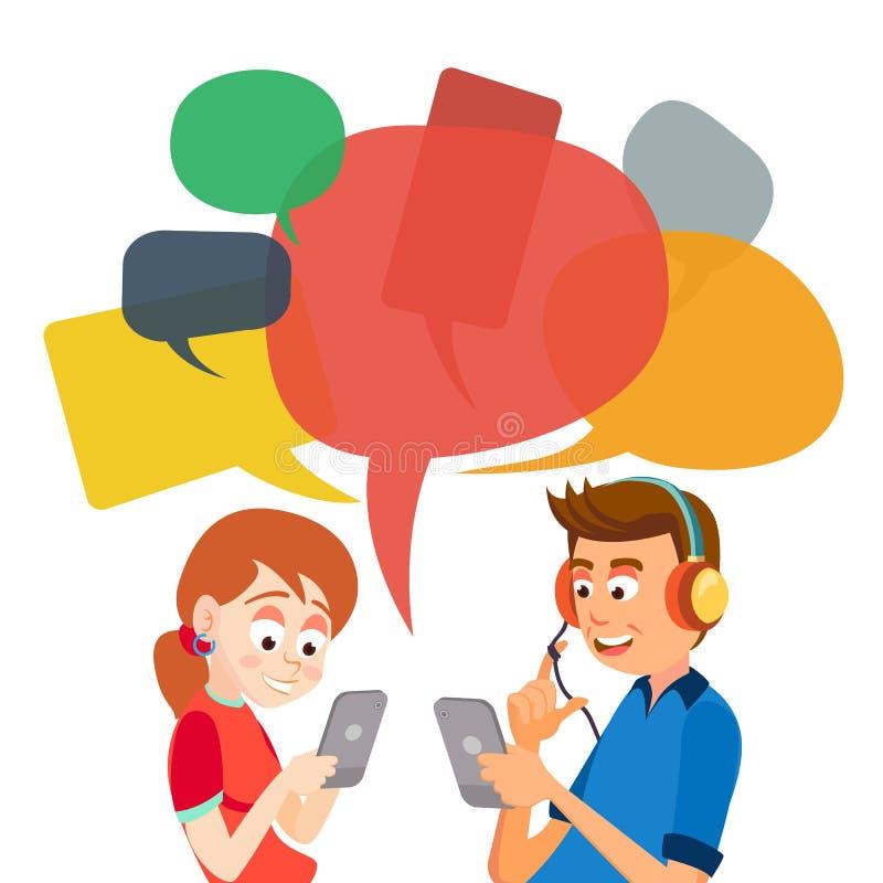 Vetor adolescente da mensagem da menina e do menino Comunique-se no Internet Conversa na rede Usando Smartphone Bolhas do bate-pa ilustração do vetor