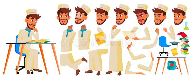 Vetor adolescente do menino Grupo da criação da animação Emoções da cara, gestos Árabe, muçulmano Emocional, pose animated para o ilustração do vetor