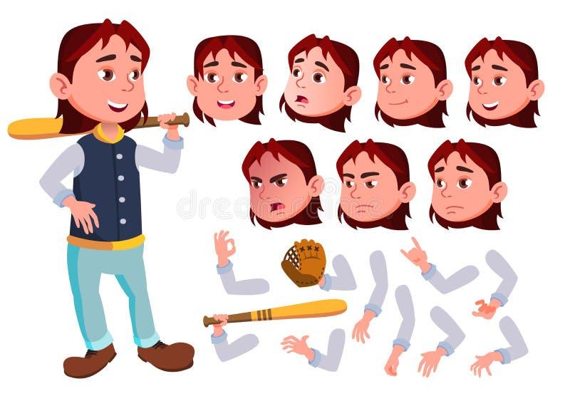 Vetor adolescente do menino teenager Bonito, cômico alegria Emoções da cara, vários gestos Jogador do esporte do basebol Criação  ilustração royalty free