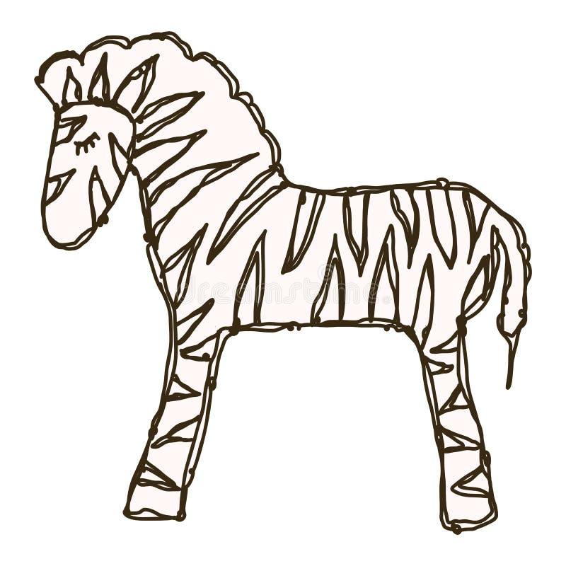 Vetor Adorable Toy Zebra Lineart Clip Ícone Animal Safari Mão Desenhada Kawaii Kid Motif Dodle de Ilustração em Cor Plana ilustração do vetor