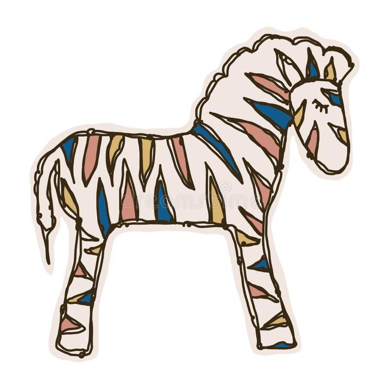 Vetor Adorable Toy Zebra Side Clip Art Ícone Animal Safari Mão Desenhada Kawaii Kid Motif Dodle de Ilustração em Cor Plana ilustração royalty free