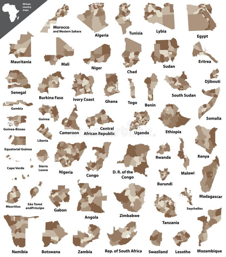 Vetor africano mapas isolados do país ilustração stock