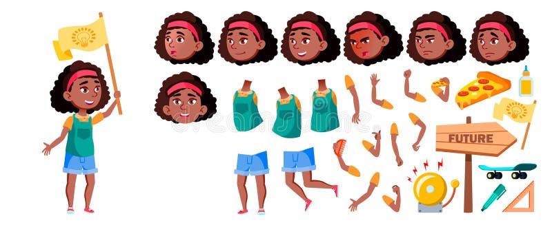 Vetor afro-americano preto da menina Grupo da criação da animação Emoções da cara, gestos Criança, aluno Para a propaganda, carta ilustração stock
