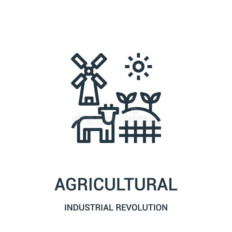 vetor agrícola do ícone da coleção da Revolução Industrial Linha fina ilustração agrícola do vetor do ícone do esboço ilustração stock