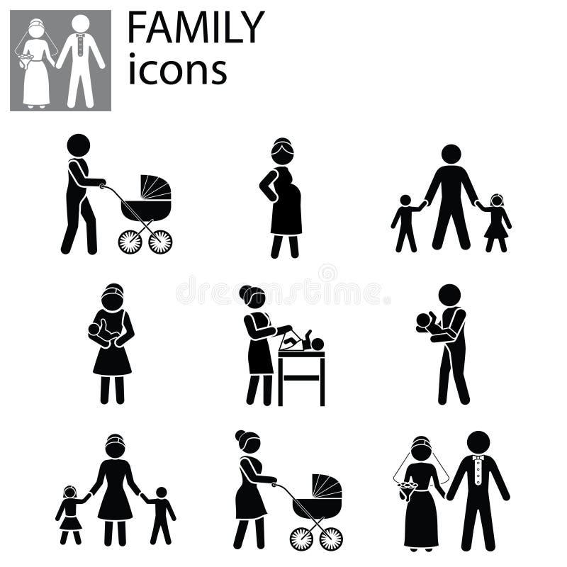 Vetor ajustado ícones da família ilustração royalty free