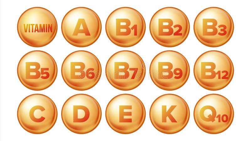 Vetor ajustado ícones da vitamina Ícone orgânico do comprimido do ouro da vitamina Cápsula da medicina, substância dourada comple ilustração do vetor