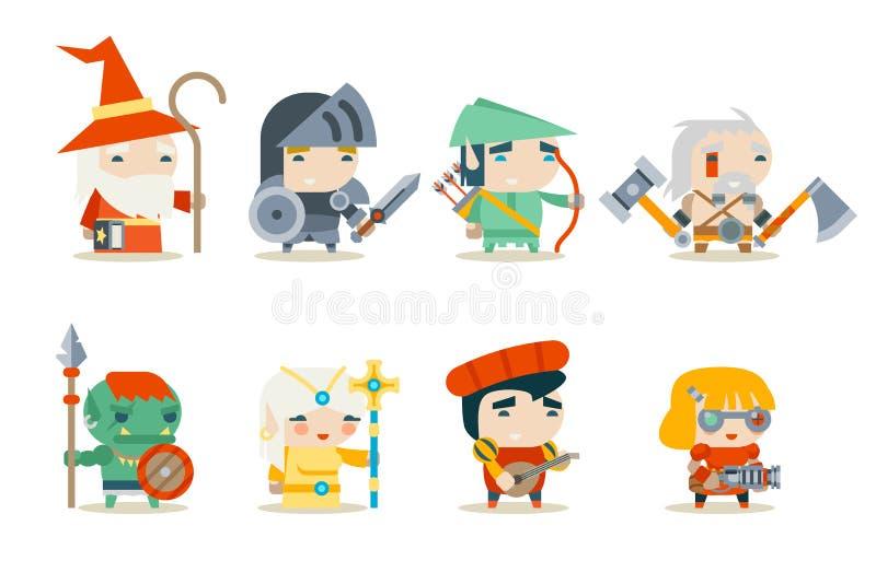 Vetor ajustado ícones do caráter do jogo do RPG da fantasia ilustração stock