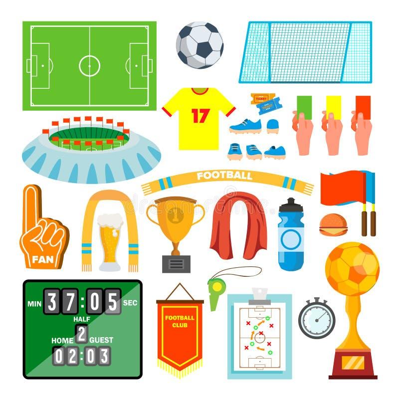 Vetor ajustado ícones do futebol Acessórios do futebol Bola, uniforme, copo, botas, placar, campo Desenhos animados lisos isolado ilustração do vetor