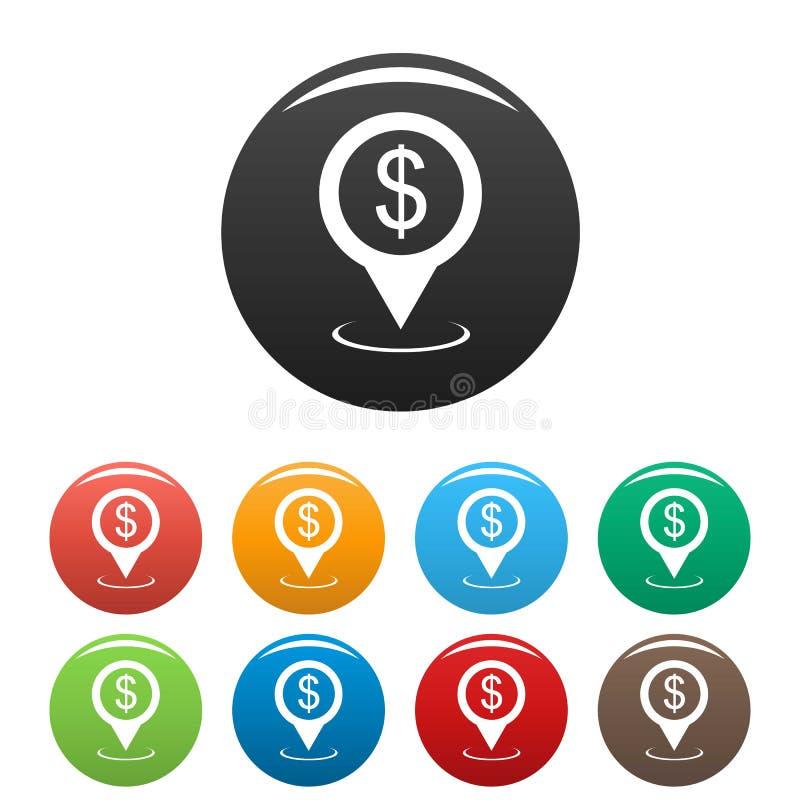 Vetor ajustado ícones do ponteiro do mapa do banco ilustração royalty free