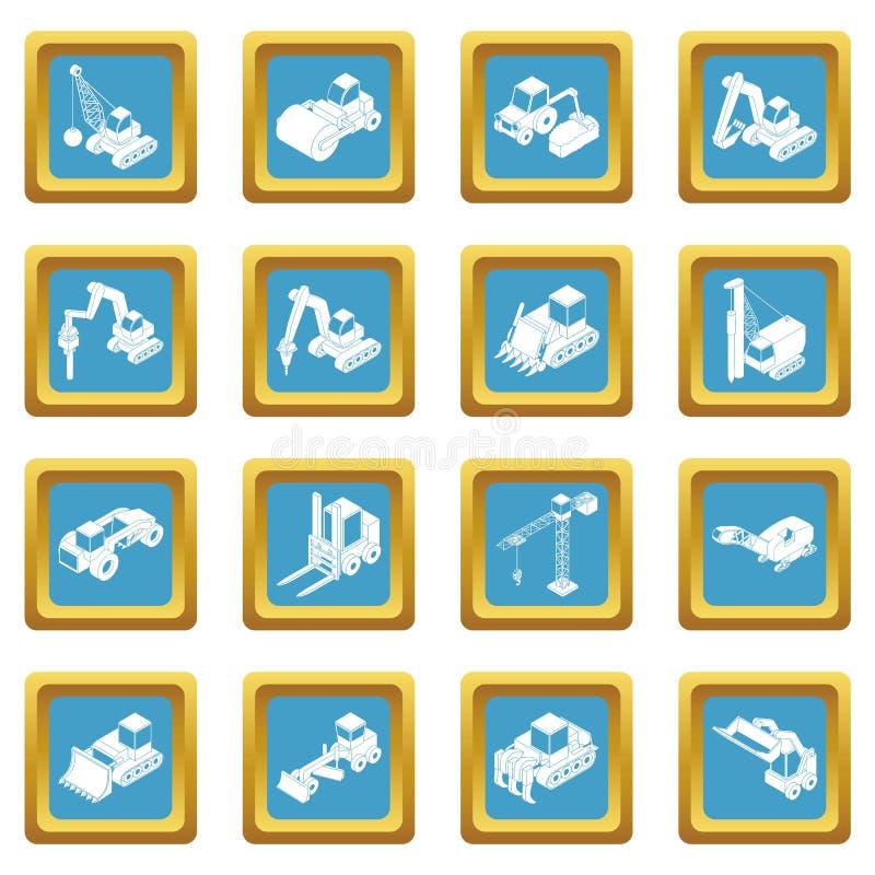 Vetor ajustado ícones do quadrado do sapphirine dos materiais de construção ilustração do vetor