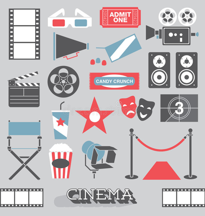 Vetor ajustado: Ícones retros e símbolos do cinema ilustração stock