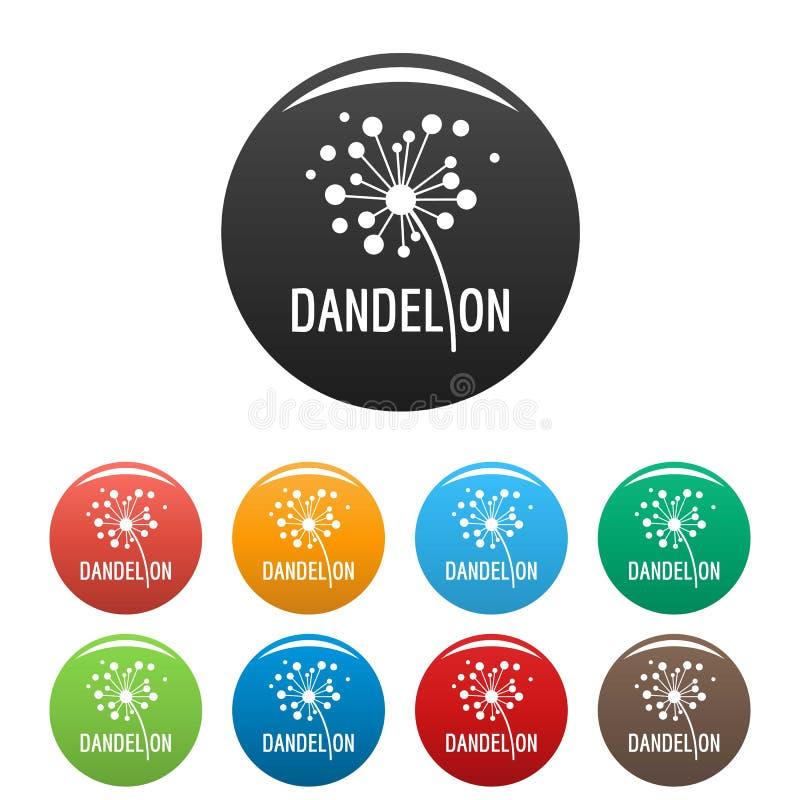 Vetor ajustado ícones secado da cor do logotipo do dente-de-leão ilustração stock