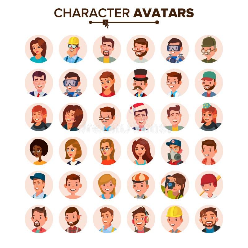 Vetor ajustado Avatars dos povos Cara, emoções Placeholder do Avatar do caráter do defeito Liso, desenhos animados, Art Flat Isol ilustração do vetor