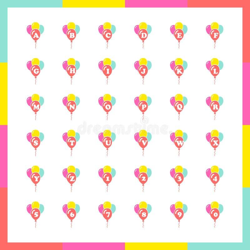 Vetor ajustado balões do alfabeto ilustração royalty free