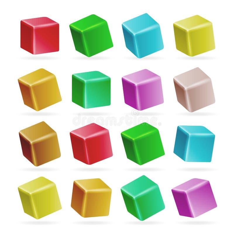 Vetor ajustado colorido do cubo 3d Modelos vazios da perspectiva de um cubo isolado no branco Jogando brinquedos da criança ilustração royalty free