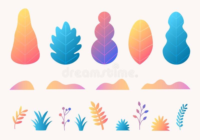 Vetor ajustado com árvores, folhas, grama no projeto liso na moda do estilo Molde das plantas da natureza do outono da fantasia p ilustração do vetor