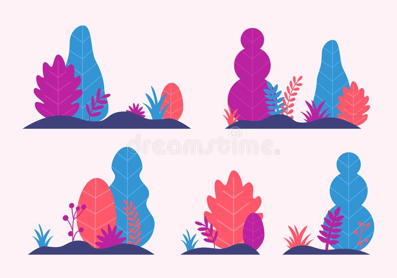 Vetor ajustado com árvores, folhas, grama no projeto liso na moda do estilo Molde das plantas da natureza do outono da fantasia p ilustração royalty free