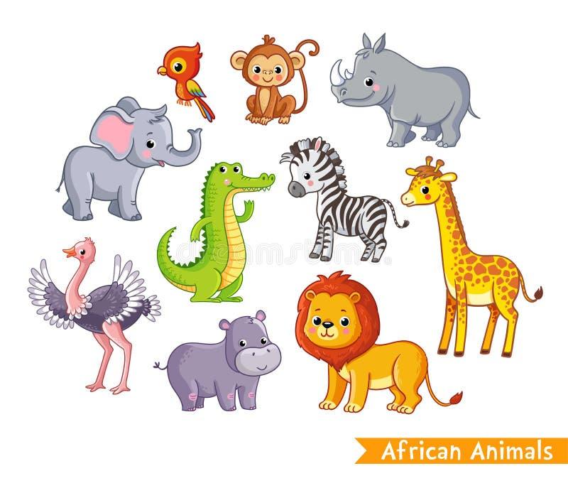 Vetor ajustado com animais africanos Uma coleção de mamíferos bonitos no savana ilustração royalty free