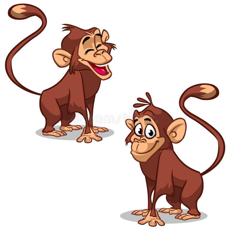 Vetor ajustado com as caras da emoção do macaco Macacos pequenos bonitos ilustração royalty free