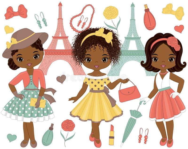 Vetor ajustado com as meninas afro-americanos pequenas bonitos no estilo retro e na torre Eiffel ilustração do vetor