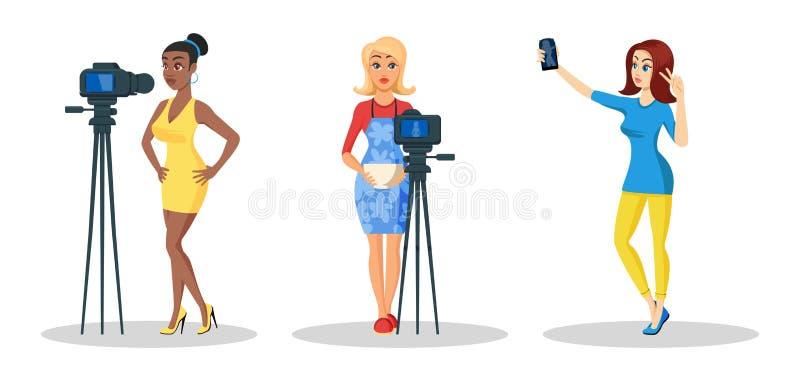 Vetor ajustado com as mulheres bonitas novas que gravam o vídeo na câmera, tomando o selfie ilustração do vetor