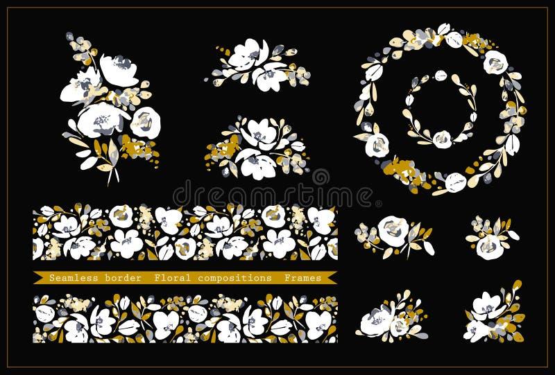 Vetor ajustado com beira sem emenda floral, quadros redondos e composições bonitos do arstract das flores brancas, cores bege e d ilustração royalty free