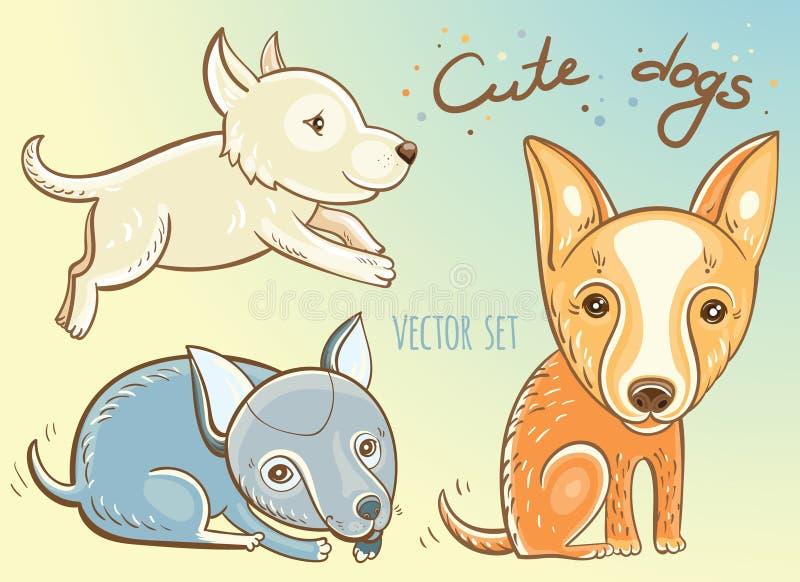 Vetor ajustado com cachorrinhos bonitos ilustração do vetor