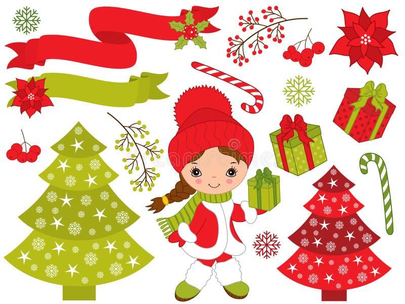 Vetor ajustado com menina bonito e elementos festivos do Natal ilustração royalty free