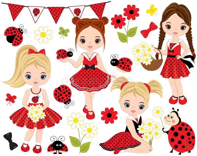 Vetor ajustado com meninas bonitos, joaninhas, flores e estamenha ilustração stock