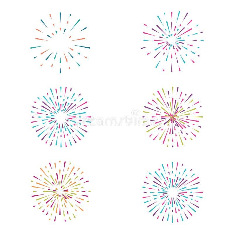 Vetor ajustado com os fogos-de-artifício no fundo branco ilustração stock
