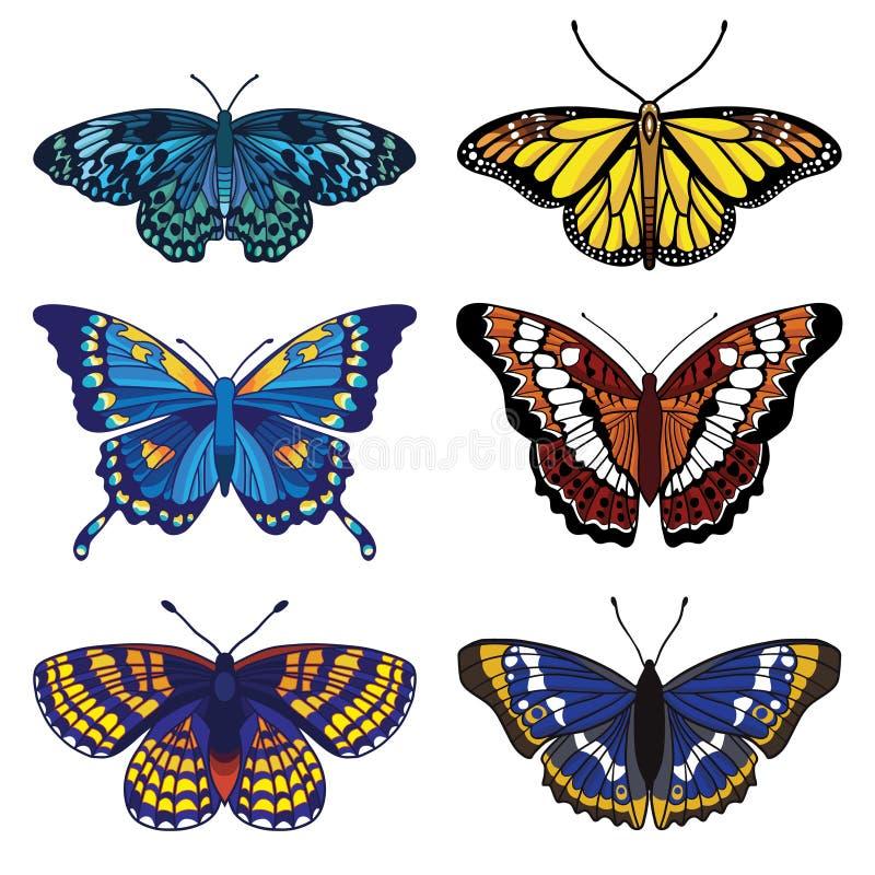 Vetor ajustado com seis borboletas ilustração do vetor