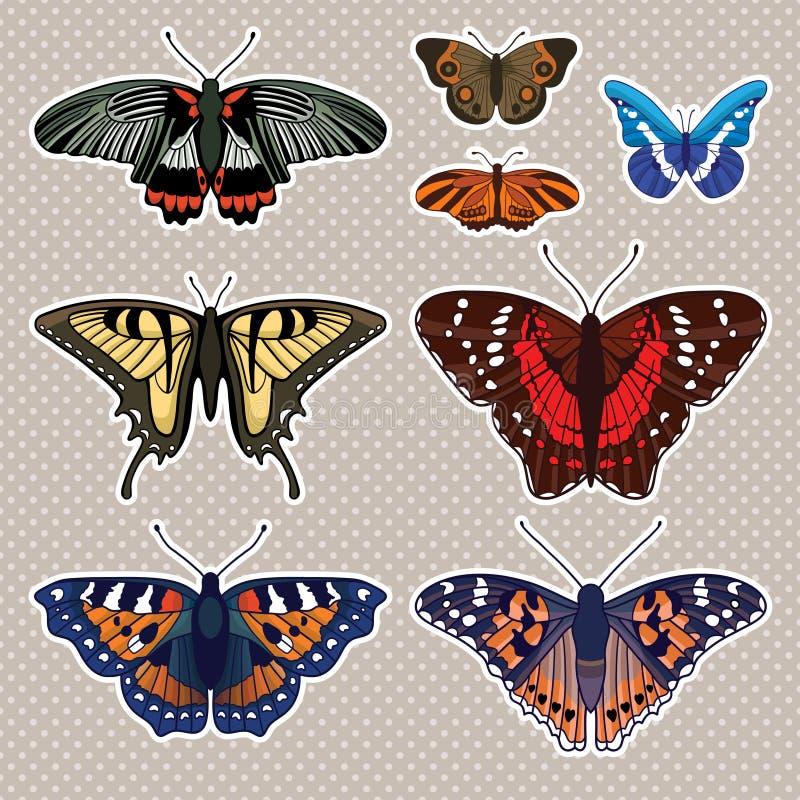 Vetor ajustado com seis borboletas ilustração stock